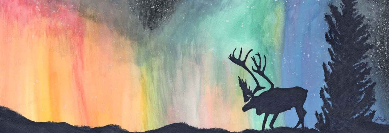 Janet Mylin Caribou Aurora Borealis